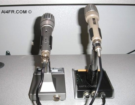 the photograph on the left is a side by side comparison of the rear of the  two microphone designs  the mc-60a is on the left and the mc-50 is on the  right